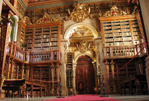 Biblioteca Joanina. En la esquina superior derecha se ve un escarabajo comiendo heces de murciélago.