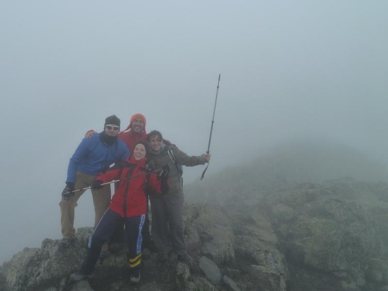Dani, Blanca, Luiyo y yo: tenemos cara de felicidad pero nos estamos pelando de frío.